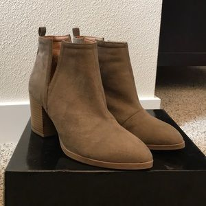 Suede heeled booties with slit sides